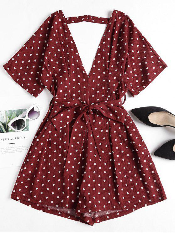 outfit Polka Dot Plunge Romper - MAROON S