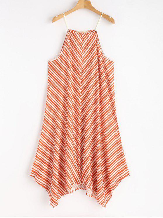 Robe Patineuse Asymétrique et à Rayures - Orange de Lever du Soleil S