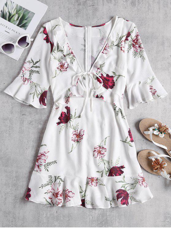 Robe Fleurie avec Découpes à Volants et Cordon Noué Devant - Blanc M