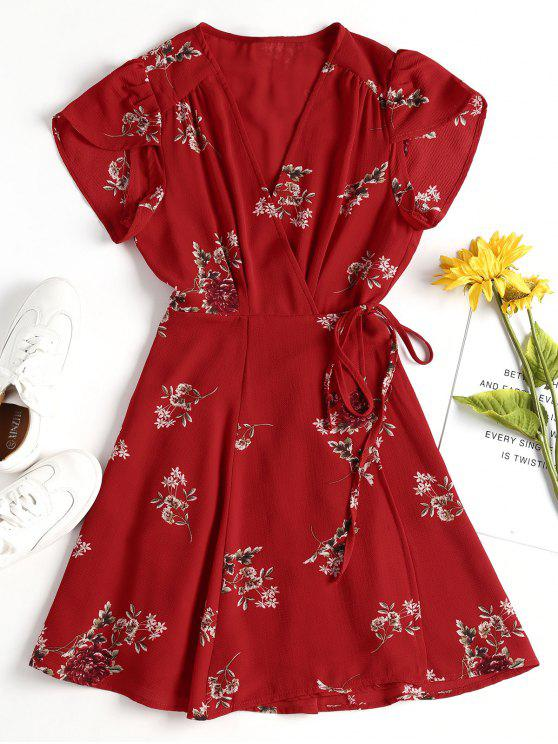 new Floral Mini Wrap Dress - FIRE ENGINE RED S