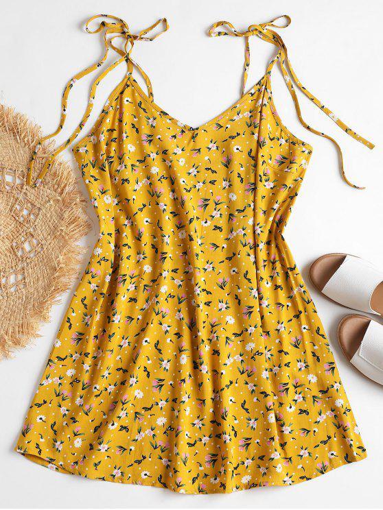 Laço Ombro Floral Minúsculo Vestido De Verão - Amarelo Brilhante L