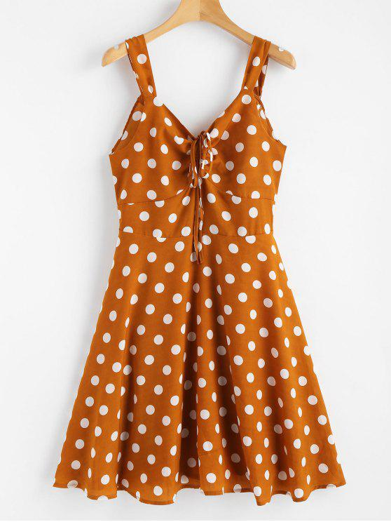 latest Polka Dot Back Knot Cinched Dress - BEE YELLOW L