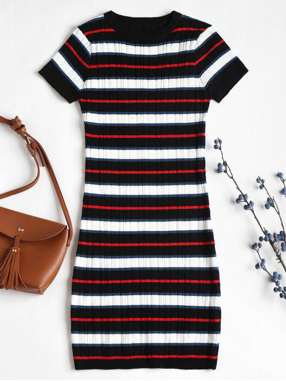 women Striped Knitted Bodycon Dress - MULTI ONE SIZE
