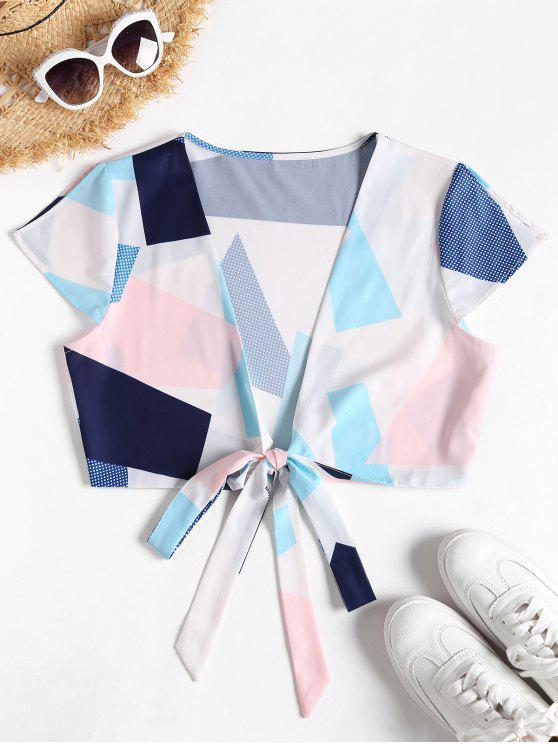 shops Wrap Graphic Tie Front Top - MULTI L
