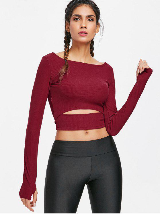 lady Long Sleeve Cut Out Cropped Gym T-Shirt - RED WINE L