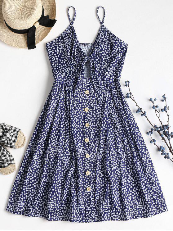 Tiny Floral Tie Front Cami Midi Dress - البحريه الزرقاء L