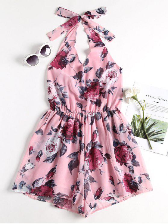 Bolsillos florales Halter Tie Back Playsuit - Rosa Claro S
