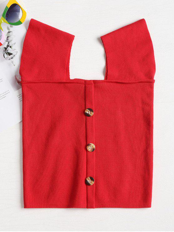 best Contrast Buttons Square Neck Knit Top - RED M