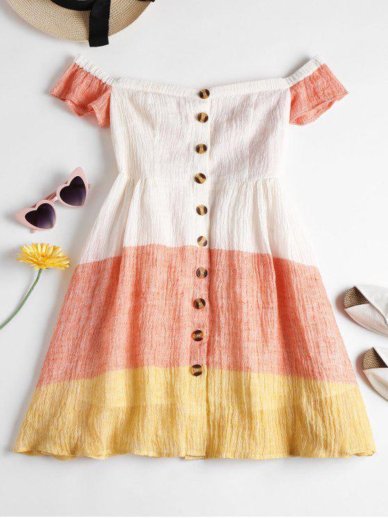 hot Button Up Off Shoulder Dress - ORANGE PINK XL