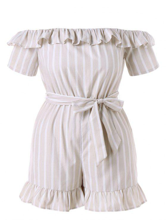 ladies Plus Size Striped Belted Romper - BEIGE 1X