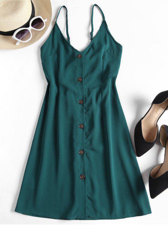 hot Contrast Button Front Cami Mini Dress - PEACOCK BLUE L