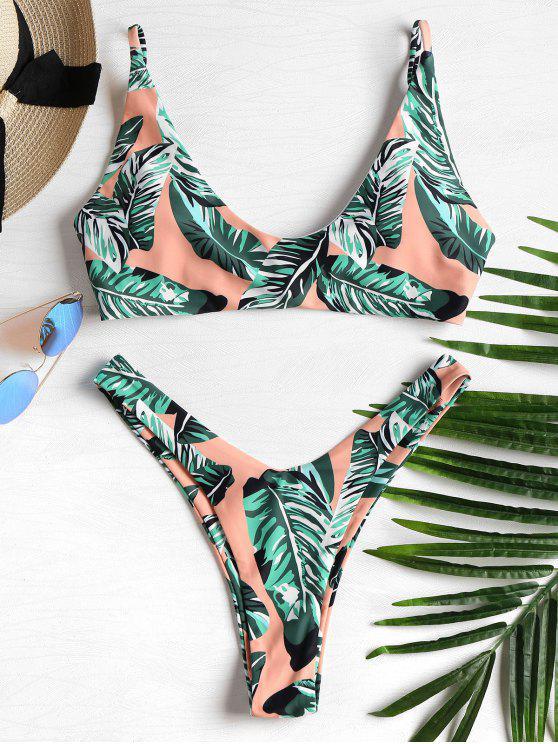 Bikini Jambes Hautes Imprimé de Feuilles de Palme - Multi-J M