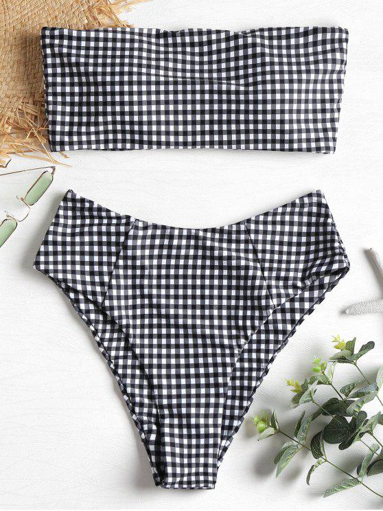 outfit Plaid High Cut Bandeau Bikini Set - MULTI L