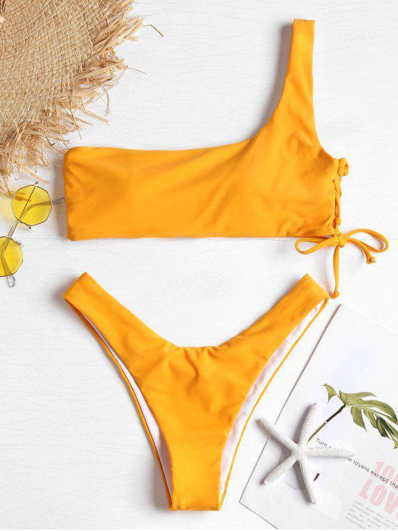 fashion One Shoulder Lace-up Bikini Swimsuit - CANTALOUPE S