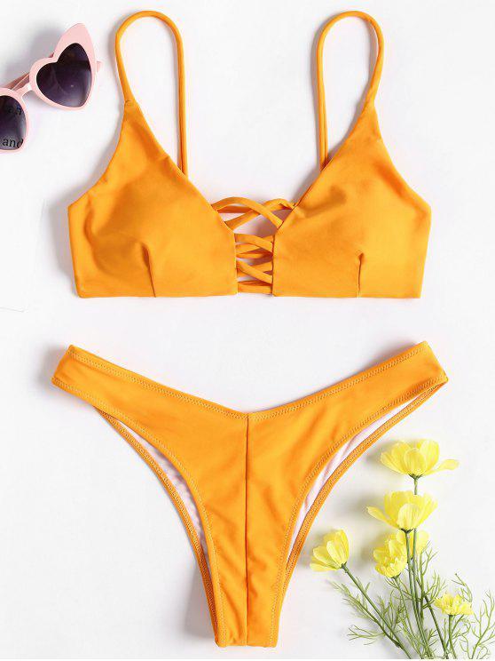 Bralette Strappy Bikini Set - Azafrán L