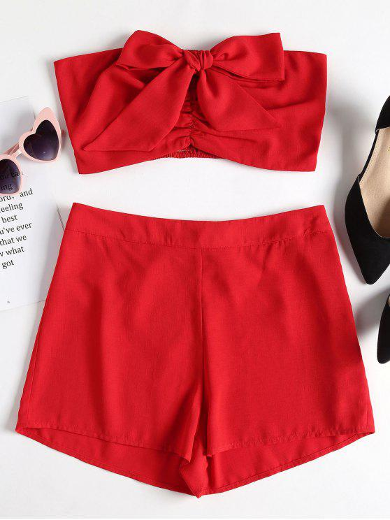 unique Bow Ruched Bandeau Top and Shorts Set - RED S