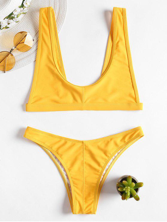 Bralette Scoop Ausschnitt Bikini - Niedliches Gummi Gelb S