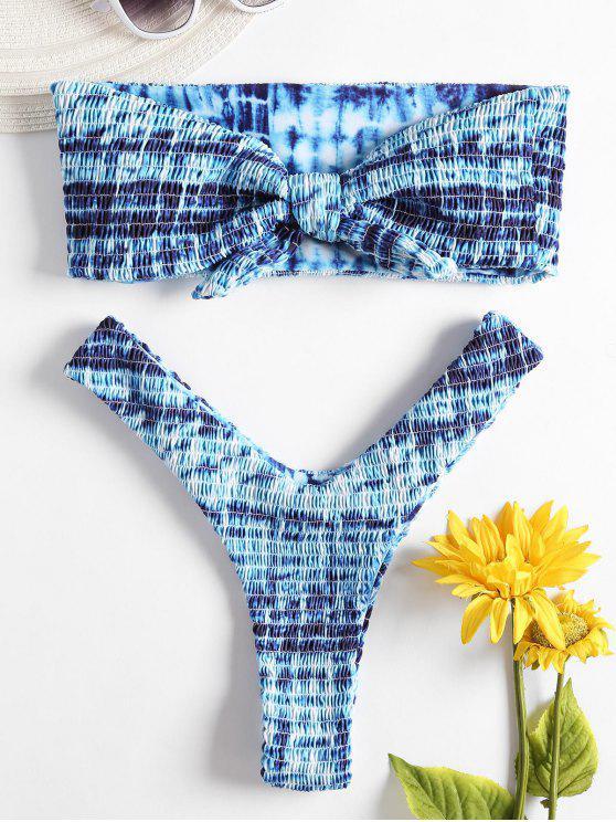 Bandeau Tie Dye Smoked Bikini Set - Multicolor M