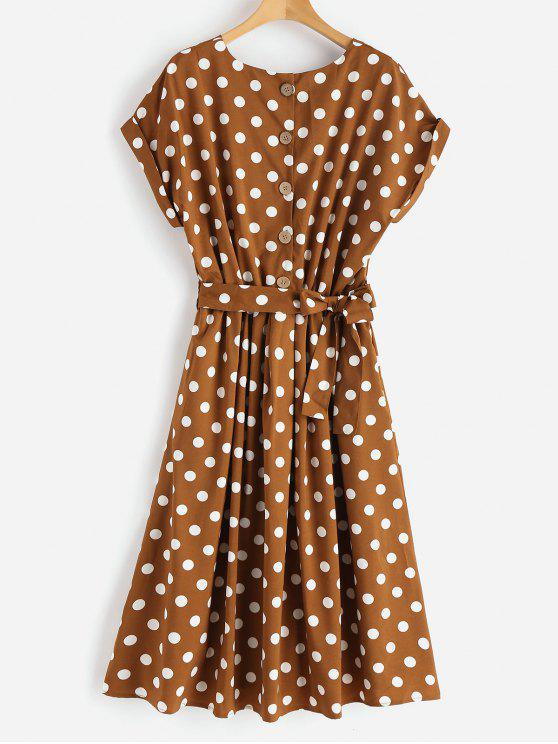 fashion Half Buttoned Polka Dot Midi Dress - RED DIRT S