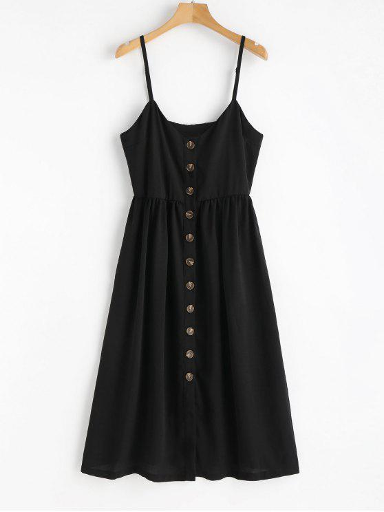latest Cami Button Up Casual Dress - BLACK M