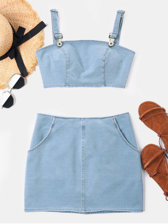 Conjunto de saia sem mangas crop denim - Azul Claro L