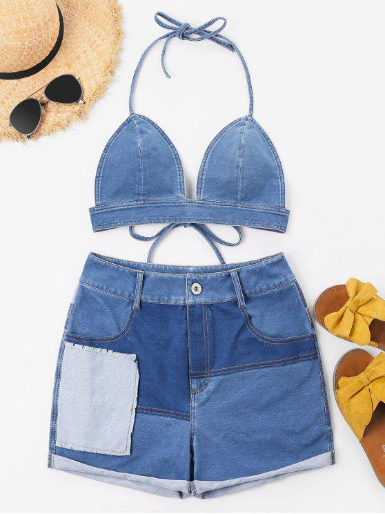 Top Con Halter E Pantaloncini In Denim - Blu Jeans  L