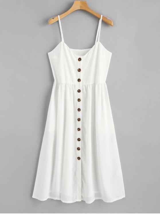 fancy Cami Button Up Casual Dress - WHITE S