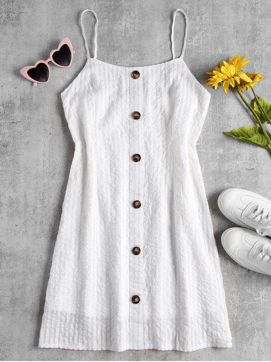 fancy Shadow Stripe A Line Cami Mini Dress - WHITE M