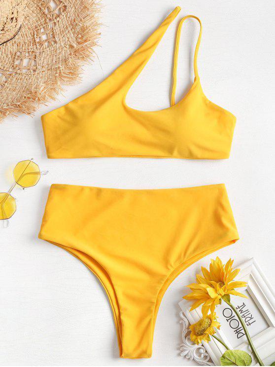 trendy One Shoulder High Leg Bikini - BRIGHT YELLOW L