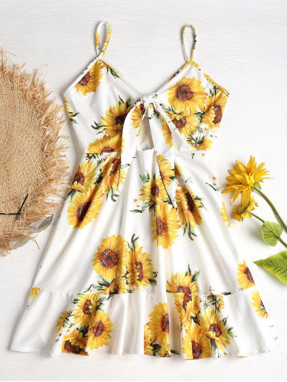 women's Tie Front Sunflower Print Mini Dress - WHITE M