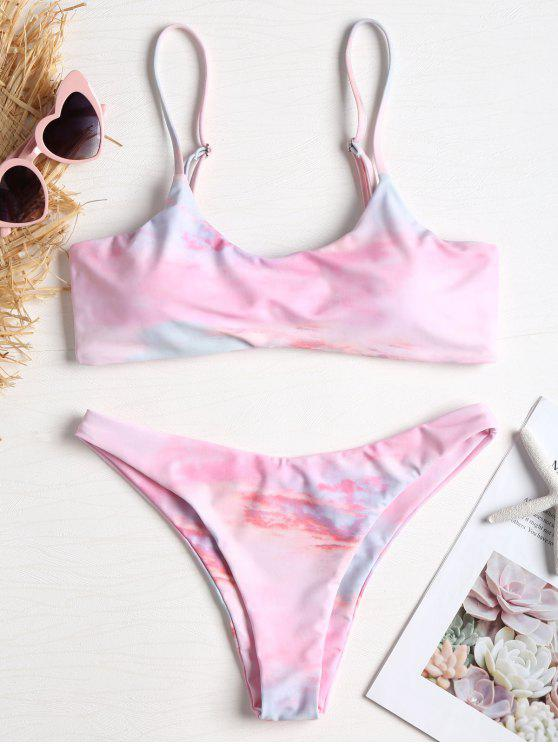 Riemchen Färbung Hohe Schlitz Knoten Bikini - Helles Rosa S