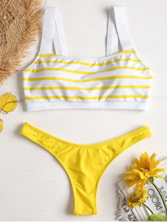 shop Stripe Low Waisted Bikini - YELLOW L