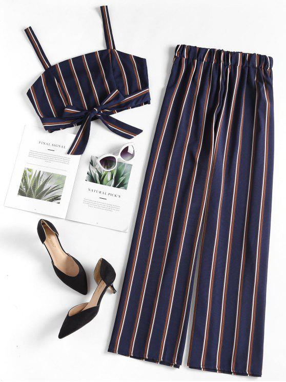 latest Striped Crop Top Palazzo Pants Matching Set - DENIM DARK BLUE M