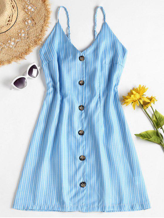 women Contrast Button Front Striped A Line Mini Dress - DEEP SKY BLUE 2XL