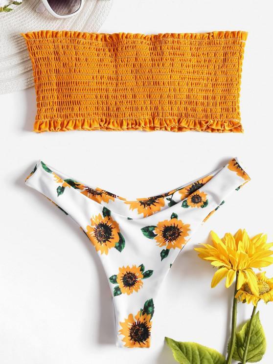 Sunflower Shirred Bikini Set - Amarillo de Autobús Escolar L