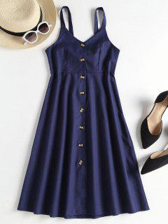 A Line Button Up Pinafore Midi Dress - Deep Blue