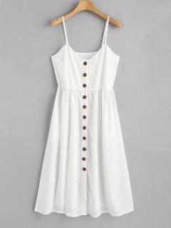 Cami Knopf Oben Freizeit Kleid - Weiß S