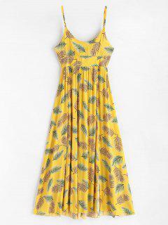 Vestido Maxi Largo Con Estampado De Hojas Y Espalda Descubierta - Amarillo De Sol