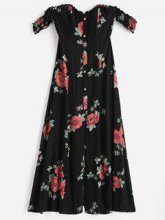 Slit Off Shoulder Floral Dress - Black S