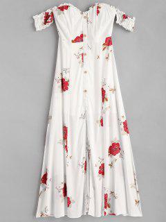 Robe Coulissante Fleurie à Epaules Dénudées - Blanc L