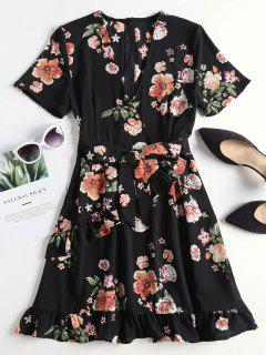 Floral Print Ruffled Surplice Tea Dress - Black L