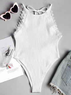 Spitze Trim Ausgeschnittne Rücken Bodysuit - Weiß M