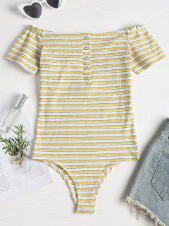 Buttoned Striped Off The Shoulder Bodysuit - Bright Yellow S