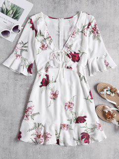 Tie Front Ruffles Cutout Floral Dress - White L