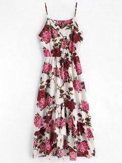 Robe Longue En Camisole à Imprimé Floral Et Ourlet En Courbe  - Multi L