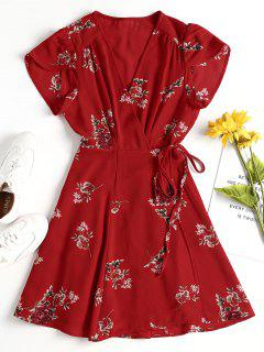 Floral Mini Wrap Dress - Fire Engine Red L