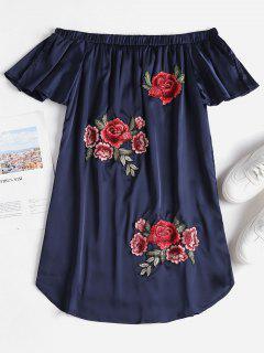 Off The Shoulder Applique Satin Dress - Lapis Blue M