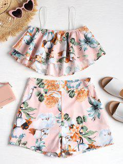 Ruffle Cami Top And Shorts Two Piece Set - Light Pink Xl