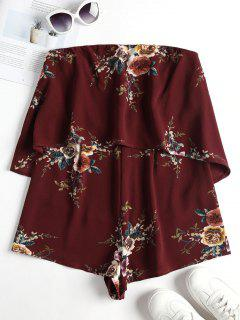 Strapless Floral Romper - Red Wine S