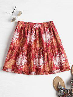 Chrysanthemum Print Tiered Mini Skirt - Multi S